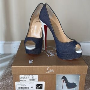 Authentic Christian Louboutin Lady Peep Denim